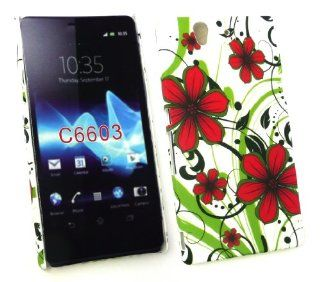 Emartbuy� Sony Xperia Z Red Hawaiian Flowers Clip On Protection Case/Cover/Skin Electronics