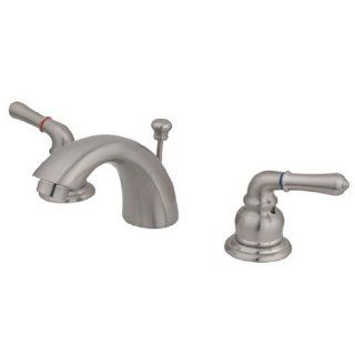Kingston Brass KB958 Magellan II 4 Inch to 8 Inch Mini Widespread Lavatory Faucet with Metal lever handle, Satin Nickel   Touch On Bathroom Sink Faucets