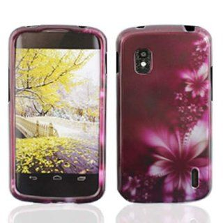 LG Nexus 4 / E960 Graphic Protective Hard Case   Feather Flower Cell Phones & Accessories