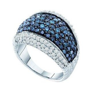 10k White Gold Blue Diamond Wide Fashion Band Ring Unique WG Size 7 Womens Pave Jewelry