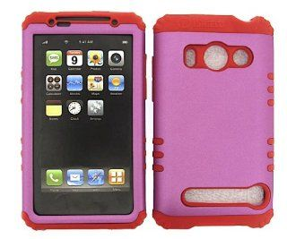3 IN 1 HYBRID SILICONE COVER FOR HTC EVO 4G HARD CASE SOFT RED RUBBER SKIN PINK GR A008 P A9292 KOOL KASE ROCKER CELL PHONE ACCESSORY EXCLUSIVE BY MANDMWIRELESS Cell Phones & Accessories