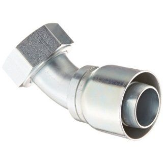 "Aeroquip 1GA24FRA24 Carbon Steel Global OTC (Over the Cover) Crimp Hose Fitting Female ORS Swivel, 45 Degree Elbow, 1 1/2"" Hose ID, 1 1/2"" Tube Size Hydraulic Hose Fittings"