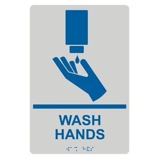 ADA Wash Hands With Symbol Braille Sign RRE 993 BLUonPRLGY Wash Hands  Business And Store Signs