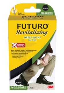 Futuro Revitalizing Men's Dress Socks, Black Medium, Moderate (15 20 mm/Hg) Health & Personal Care