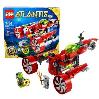Lego Atlantis Series Vehicle Set # 8060   TYPHOON TURBO SUB with Key Grabbing Claw, Torpedo Shooter and Flick Fire Missiles Plus Yellow Atlantis Treasure Key, Shark Warrior and Heroic Diver Minifigures (Total Pieces 197) Toys & Games