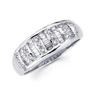 14k White Gold Diamond Channel Set Wedding Dome Ring Band .44 ct (G H Color, I1 Clarity) Right Hand Rings Jewelry