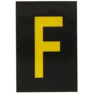 "Brady 5905 F Bradylite 1 1/2"" Height, 1 Width, B 997 Engineering Grade Bradylite Reflective Sheeting, Yellow On Black Reflective Letter, Legend ""F"" (Pack Of 25) Industrial Warning Signs"