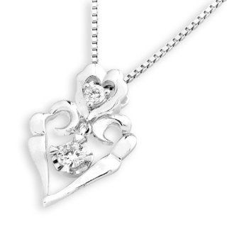 "18K White Gold Diamond Accent Heart Drop Dangle Pendant W/925 Sterling Silver Chain (0.18 cttw, G H Color, VS2 SI1 Clarity), 16"" Women Jewelry Jewelry"