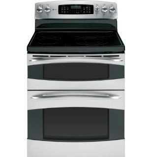 "GE PB975STSS Profile 30"" Stainless Steel Electric Smoothtop Double Oven Range   Convection Appliances"
