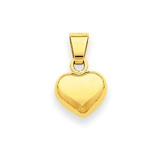 14 Karat Yellow Gold Puffed Heart Charm and Pendant   8mm Jewelry