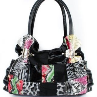 """C C"" Signature Jacquard Cleto Animal Print Patchwork Oval Buckled Lace stitched Ruched Ruffle Style Designer Inspired Shoulder Fashion Tote Satchel Handbag Purse in Black Snakeskin Crocodile Leopard Clothing"