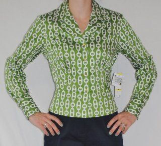 Jones New York Womens 100% Cotton Green and White Long Sleeve Shirt Size Medium  Other Products