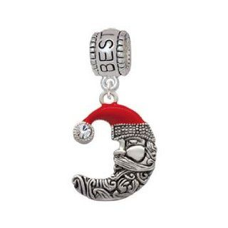Large Crescent Moon Enamel Santa Face with Crystal Best Friend Charm Bead Jewelry