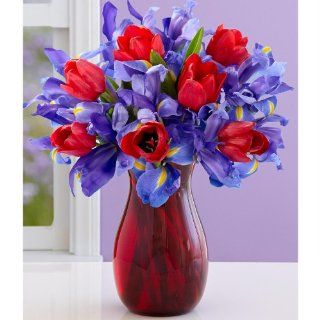 Tender Hugs and Kisses (with FREE glass vase)   Flowers  Fresh Cut Format Mixed Flower Arrangements  Grocery & Gourmet Food