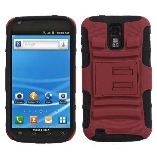 MyBat ASAMT989HPCSAAS003NP Advanced Rugged Armor Hybrid Combo Case with Kickstand for T Mobile Samsung Galaxy S2   Retail Packaging   Red/Black Cell Phones & Accessories