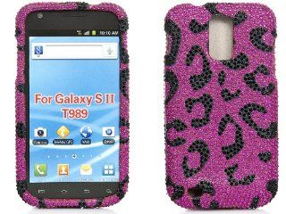 iSee Pink Leopard Cheetah Bling Rhinestone Crystal Full Case for T Mobile Samsung Galaxy S2 SGH T989 Hercules Cell Phones & Accessories