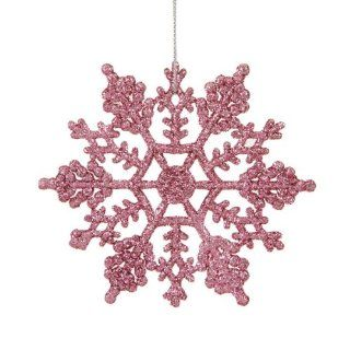 "Club Pack of 24 Bubblegum Pink Glitter Snowflake Christmas Ornaments 4""   Christmas Ball Ornaments"