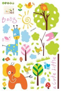 Baby Animals Trees Birds Nursery/Kids Room Peel & Stick Wall Decal   Childrens Wall Decor
