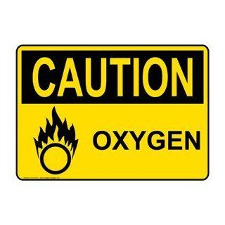 OSHA CAUTION Oxygen Sign OCE 5135 Hazardous Gas / Gas Lines  Business And Store Signs