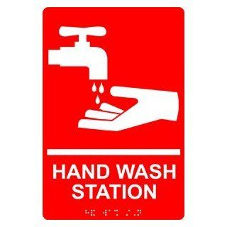 ADA Hand Wash Station Braille Sign RRE 998 WHTonRed Hand Washing  Business And Store Signs