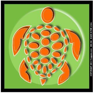 "SEA TURTLE   ORANGE/GREEN   STICK ON CAR DECAL SIZE 3 1/2"" x 3 1/2""   VINYL DECAL WINDOW STICKER   NOTEBOOK, LAPTOP, WALL, WINDOWS, ETC. COOL BUMPERSTICKER   Automotive Decals"