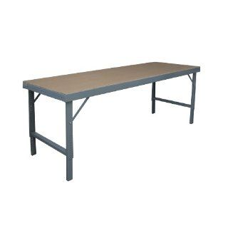 "Durham 14 Gauge Steel Ergonomic Folding Leg Style Work Bench with Tempered Hard Board Over Steel Top, WBF TH 36120 95, 2000 lbs Capacity, 120"" Length x 36"" Width, Gray Powder Coat Finish Science Lab Benches"