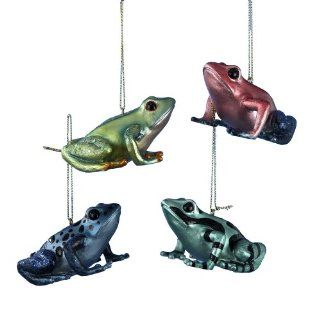 Kurt Adler Animal Planet Resin Tropical Frog Ornaments with Metallic Style Paint and Glitter Set of 4   Decorative Hanging Ornaments
