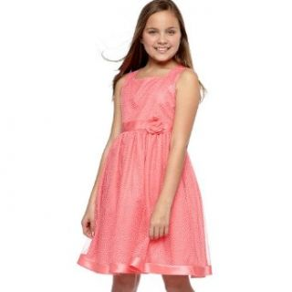 Size 12 RRE 56102E CORAL PINK WHITE FLOCK DOT MESH OVERLAY Special Occasion Wedding Flower Girl Easter Party Dress, E456102 Rare Editions 7 16 Clothing