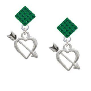 Open Heart with Feathered Arrow Green Emerald Crystal Diamond Shaped Lulu Pos Jewelry