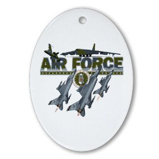 Ornament (Oval) US Air Force with Planes and Fighter Jets with Emblem  Decorative Hanging Ornaments