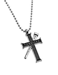 "Christian Mens Black Stainless Steel Abstinence ""Forgiven  Jesus In Whom We Have Redemption Through His Blood, The Forgiveness Of Sins, According To The Riches Of His Grace"" nail reads ""Established 33 A.D."", and back reads ""Ephesi"
