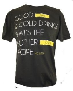 "Wiz Khalifa Mens T Shirt   ""Good Wiz and Cold Drinks That's the Khalifa Recipe"" Novelty T Shirt Clothing"