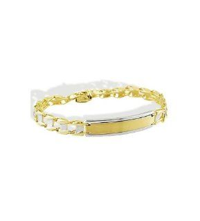 Mens 14k White Yellow Gold Engraveable ID Bracelet Jewelry