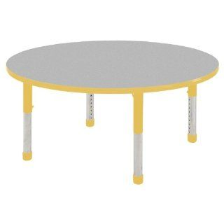 "ECR4KIDS 48"" Stain Resistant Preschool Daycare Childrens Adjustable Round Activity Table Gray Edge Banding Yellow Toddler Leg Ball Glides Toys & Games"