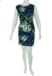 Nine West Print Sleeveless Dress Green Combo 14