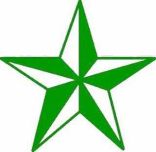"4"" GREEN NAUTICAL STAR reflective vinyl decal sticker for any smooth surface such as hard hats helmet windows bumpers laptops or any smooth surface."