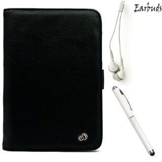 BLACK Faux Leather Lightweight, Durable Portfolio Jacket Cover Case For Visual Land Prestige 7 Internet Tablet 7 inch Android 4.0 Multi Touch Screen Tab (Also Fits Prestige 7L ) + WHITE Crystal Clear High Quality HD Noise Filter Ear buds ( 3.5mm Jack ) + P