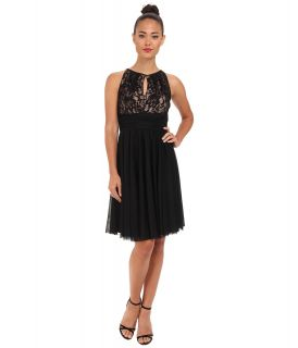 Jessica Howard Sleeveless Shirred Keyhole Neck Dress w/ Ruched Waist Womens Dress (Black)