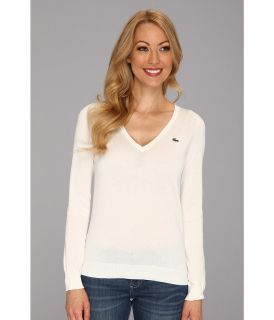 Lacoste L/S Extra Fine Cotton V Neck Sweater Womens Sweater (White)