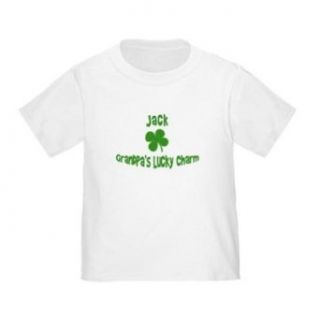 Personalized Grandpa's Lucky Charm St. Patrick's Patty's Day Shamrock Shirt For Baby, Infant, Toddler, and Kids   Customize with any Boy or Girls Name Infant And Toddler T Shirts Clothing
