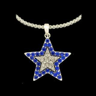 From the Heart Beautiful Blue & Clear Crystal Rhinestone Star Necklace on 18 inch Silver Metal Chain Star is approximately 1 inch long & 1 inch wide.Gift Boxed  Celebrate the Dallas Cowboys or any Occasion with these Beautiful EarringsThey Spark
