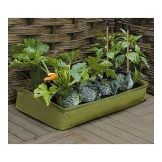 Space Saver Raised Garden Bed    39 Inches Long x 8 Inches High x 20 Inches Wide. Light Green Color, steel supports for sides, 20 brass drain holes  Holds approximately 100 lbs soil or compost. Lightweight polyethylene  Raised Garden Kits  Patio, Lawn &a
