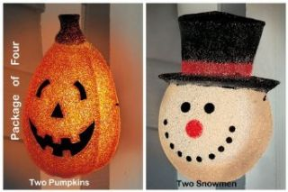 Outdoor Holiday Porch, Garage Lights  Two Pumpkins & Two Snowmen  Hang right over your existing fixture  Package of Four (4). Approximately 12 Inches high x 9 inches wide. One for Halloween and one set for Winter   Outdoor Post Light Accessories