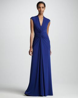 Nicole Miller Gathered V Neck Gown