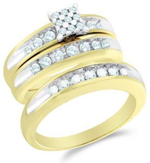 "10K Two Tone Gold Diamond Mens and Ladies His & Hers Trio 3 Three Ring Bridal Matching Engagement Wedding Ring Band Set   Square Princess Shape Center Setting w/ Pave Channel Set Round Diamonds   (3/4 cttw)   SEE ""PRODUCT DESCRIPTION"" TO CHOO"