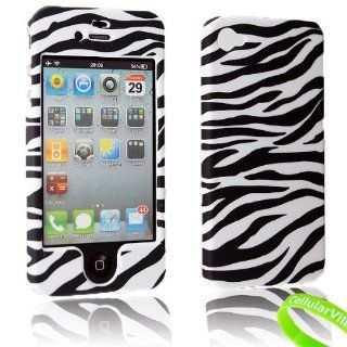 For Apple Iphone 4 4g 4s Cellularvilla (TM) Black White Zebra Design Hard Phone Snap on Case Cover + Stylus Touch Pen Cell Phones & Accessories