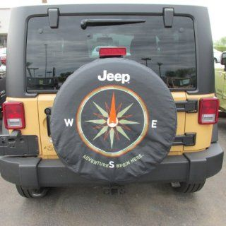 "Jeep Wrangler ""The Adventure Begins Here"" Logo Spare Tire Cover Mopar OEM Automotive"