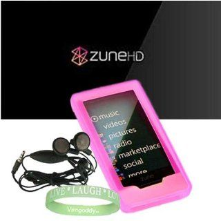 Microsoft Zune HD 16GB, 32GB & Microsoft Zune HD Accessories bundle containing Premium **PINK** Silicon Skin Case Cover + Microsoft Zune HD  Earphones + Live*Laugh*Love Silicone Wrist Band   Players & Accessories