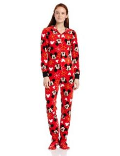 Disney Junior's Mickey Mouse Footed Onesie Pajama with Hood, Red Print, Large Clothing