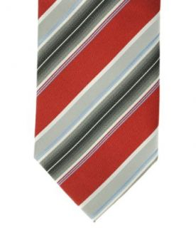 Geoffrey Beene A Awning Stripe Tie Red/Grey/Silver at  Men�s Clothing store Neckties